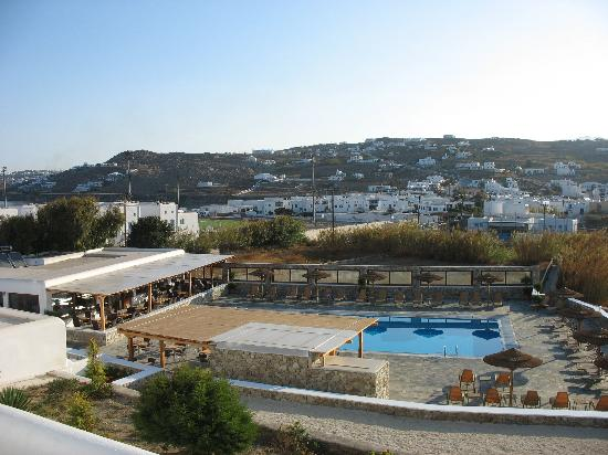 Yiannaki Hotel: view of pool from our room