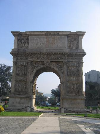 The Arc of Traiano 114AD-117AD constructed by the Romans in  downtown Benevento