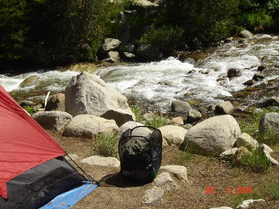 Lodgepole Campground: How close tent is to water...