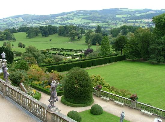 Powis Castle and Garden: view from one of the terraces