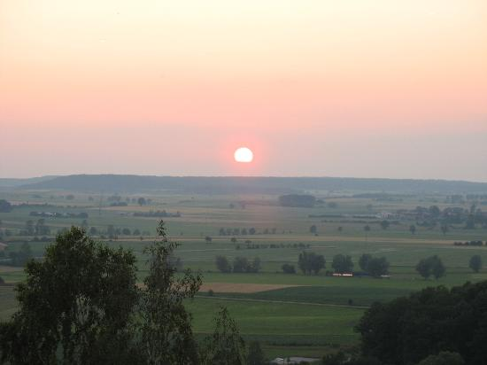 Hotel Burg Colmberg: sunset view of German countryside from Colmberg gazebo