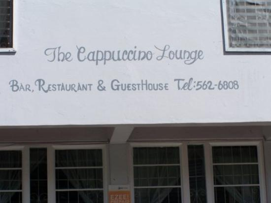 The Cappuccino Lounge: Close-up of the sign.