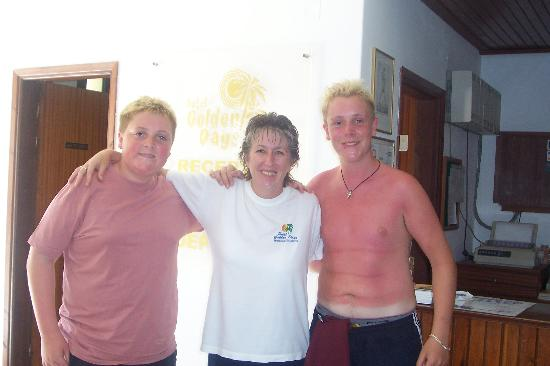 Golden Days Hotel: our boys with carol,the brilliant receptionist