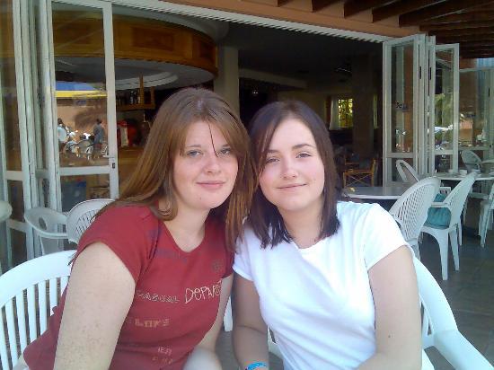 OLA Hotel Maioris : Daughter Katie and friend Daniella outside the main bar