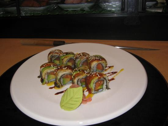 Taiko Japanese Steakhouse and Sushi Bar: S&e roll, salmon avocado inside eel avocado on the outside,with soysause carmlized sugar...