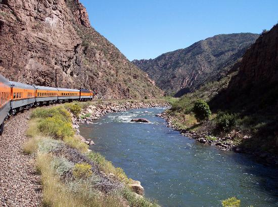 Royal Gorge Route Railroad: View of train & Arkansas River