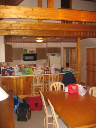 Waitsfield, VT: View from the dining table to kitchen.