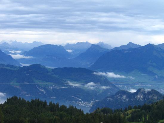 The Bed and Breakfast: view from the zip lines at the top of Mount Pilatus