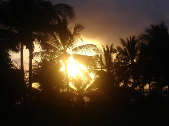 Voyager Beach Resort: sunrise over gardens and lookout bar