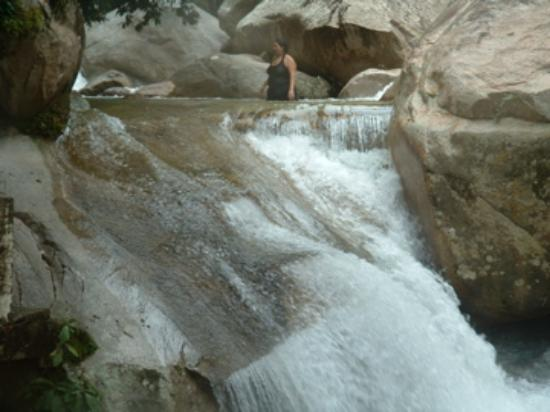 El Edén: It took a little courage, but I did slide down the waterfall!