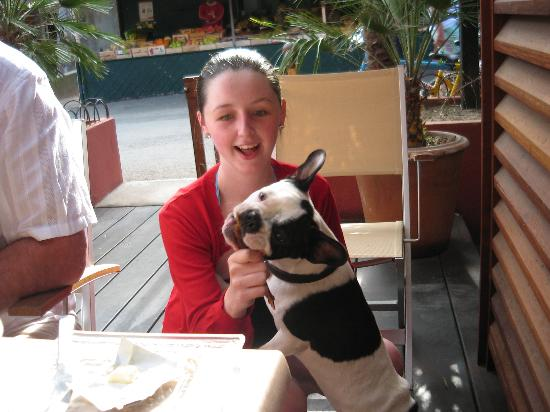 L'Oustaou de la Mar : My daughter with the hotel dog