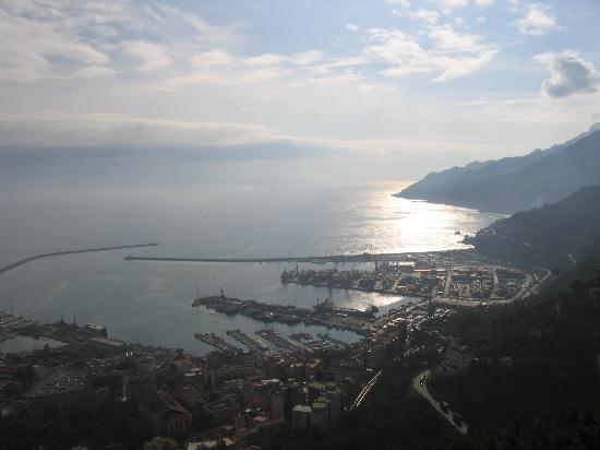 View from Castello di Arechi of the coastal area of northwest Salerno(Molo Manfredi)+Vietri...