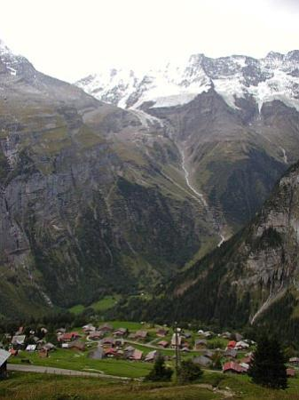 Gimmelwald, Swiss: Looking down on the town were Esther's Guesthouse is located