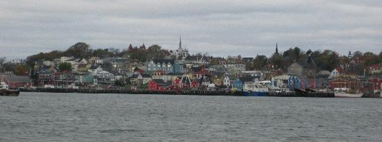 View of Lunenburg shore from sailboat.