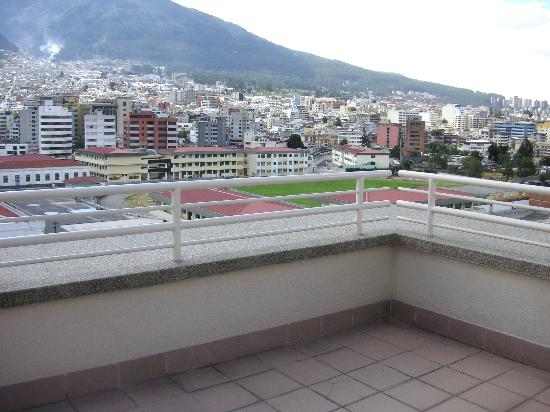 JW Marriott Hotel Quito: Our private balcony overlooking the volcano and downtown Quito.