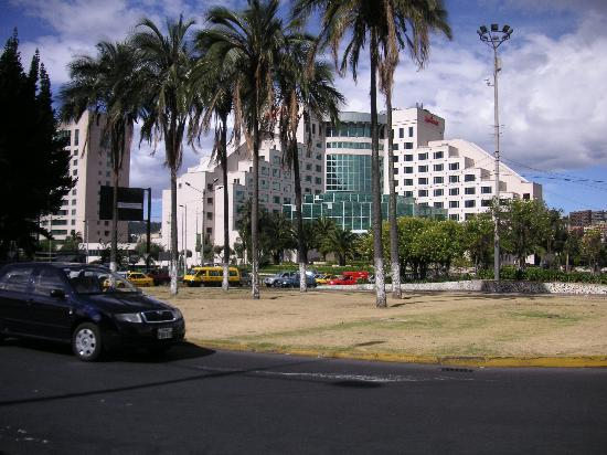JW Marriott Hotel Quito: Looking across the busy intersection at the hotel.
