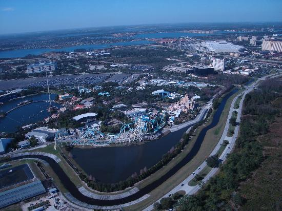 Orlando, FL: view of international drive, from helicopter