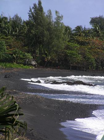 Black sand beach in Hana