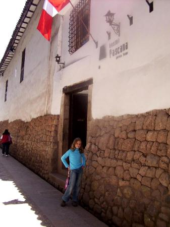 My daughter at the entrance of Hostal Pascana
