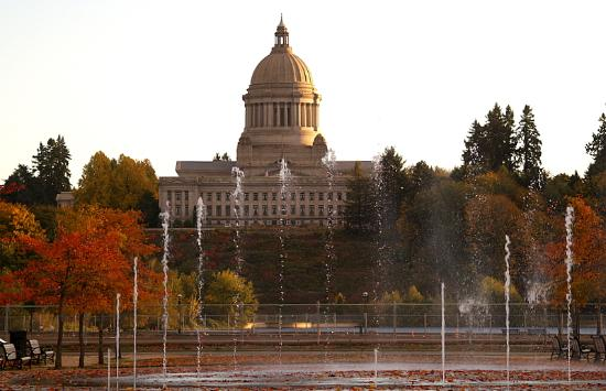 Water dances in front of the State Capital Building
