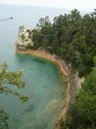 Pictured Rocks National Lakeshore : Miners Castle - Note missing turret on the right - Fell into Lake Superior April 2006