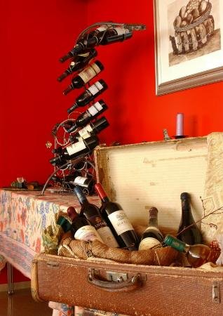 The wine rack at Hotel Glymur