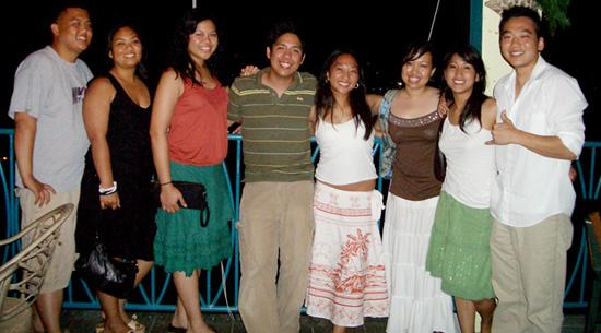 Mongoose Apartments: the 8 of us. I'm on the far right, green skirt. Bananakeet Restaurant, Tortola