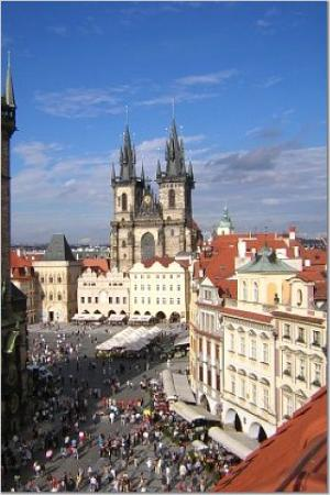 Prague, Czech Republic: View from the rooftop of Hotel U Prince