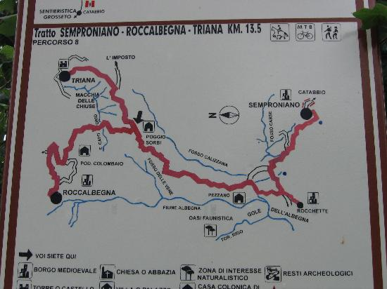 Roccalbegna, Italy: Map of the three walks