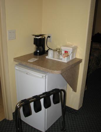 Minifridge and coffee machine
