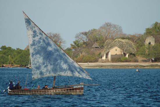 Kinasi Lodge : Dau mit Chole Island im Hintergrund