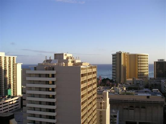 Marine Surf Waikiki: Marine Surf (center fore) Sheraton Waikiki (center far monster), seen from 18th fl of Royal...