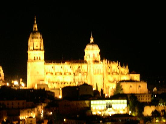 Salamanca, Spania: Cathedral and Old Town lit up at night