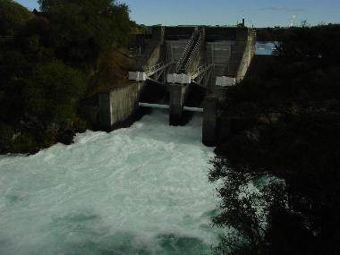 Arataki Dam with the gates open
