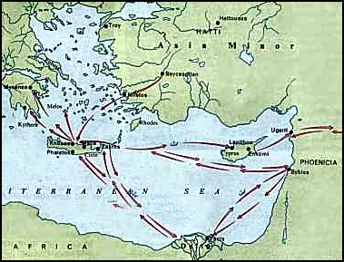 prehistoric map of mediterranean area