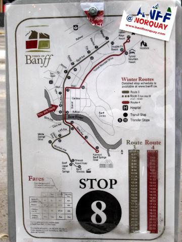 Banff bus stop sign with info