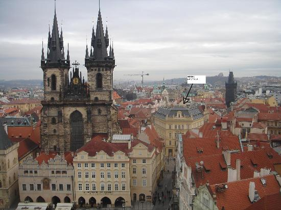 Ventana Hotel Prague: View of Hotel from Old Town Square Tower - GREAT location!
