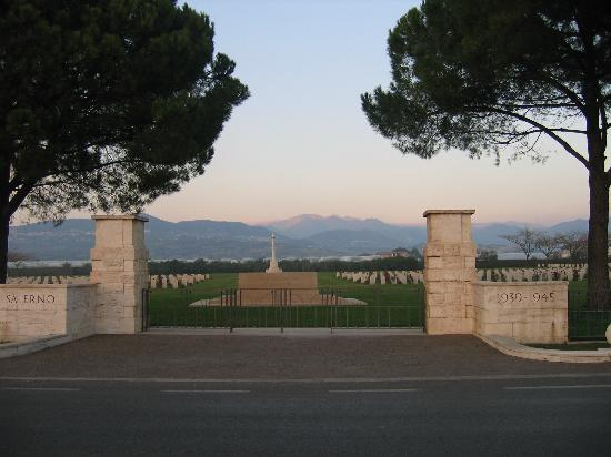 Entrance to the Salerno War Cemetery located in Bivio Pratole around 4 miles south of Salerno