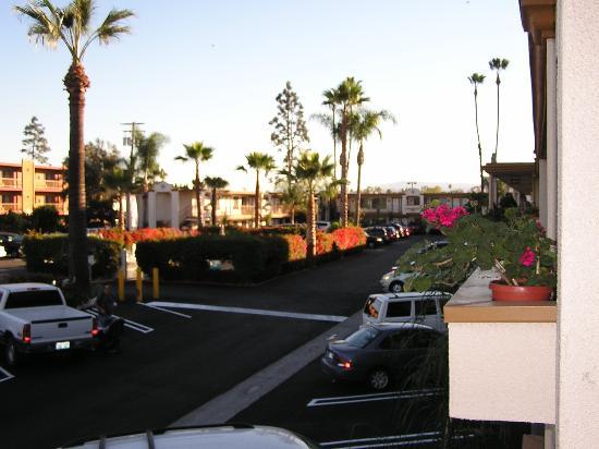 Park Vue Inn: View of parking lot from doorway