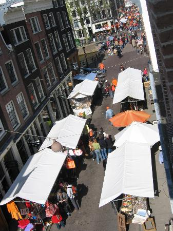 Maes B & B: view from attic room on queen's day