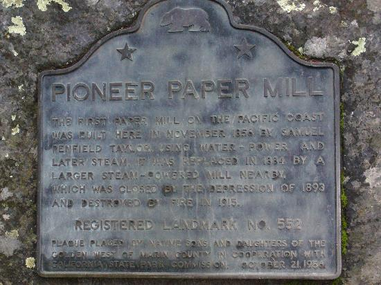 Samuel P. Taylor State Park: 1st papermill on the west coast