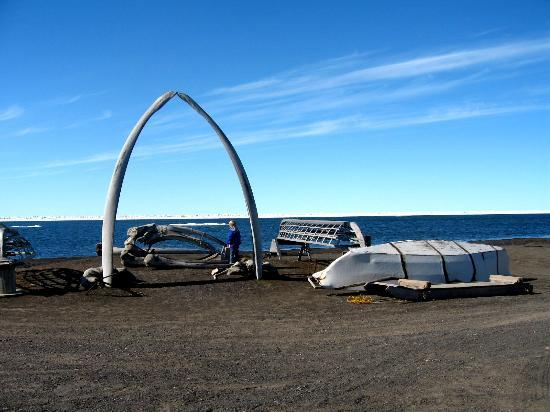 The whalebone arch--Barrow is a whaling town.