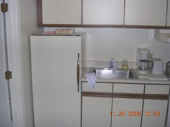 Seacastles Resort Inn and Suites : small kitchen fridge from 70's