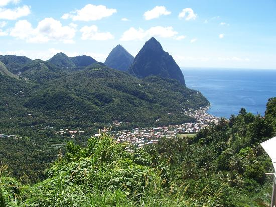 Rodney Bay, Saint Lucia: View of the Pitons