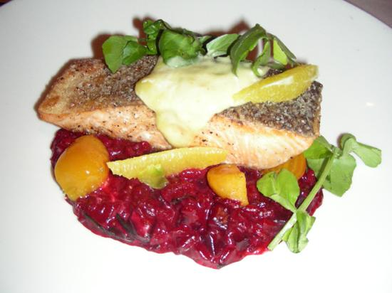 George's at the Cove: Loch Duart Salmon with Beet Risotto