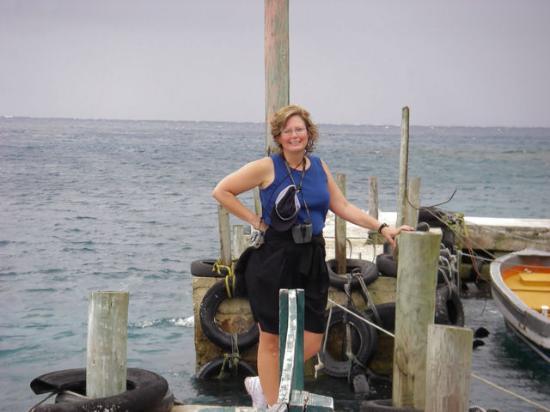 Namena Island Dive Resort: Sue on dock.