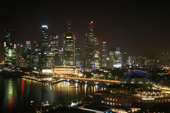 Mandarin Oriental, Singapore: View from Premier Harbour room at night.