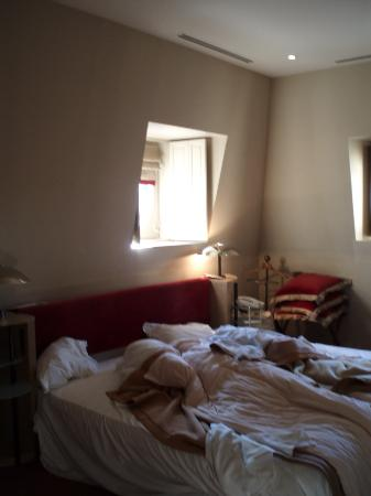 Saint James Paris : bedroom (messy-sorry) not shown is writing desk and Tv cabinet