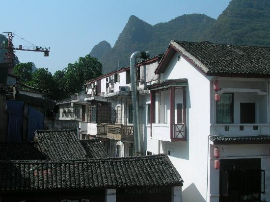 Yangshuo County, China: View from our room at Waterbuffalo Guesthouse in Yuanhshuo