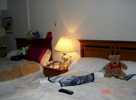 Delta Calgary South Hotel: The beds (pardon the stuffed animals)